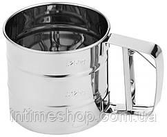 🔝 Механическое сито для просеивания муки и сахарной пудры, чашка-сито с ручкой, с доставкой по Украине | 🎁%🚚