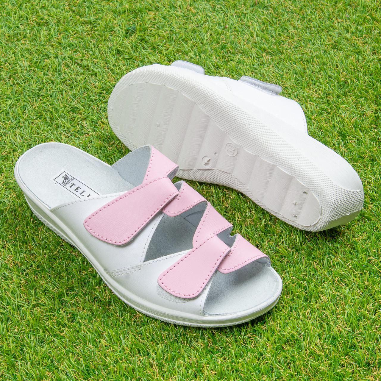Женские кожаные открытые тапочки Tellus  51-07-07WPI Бело-розовые