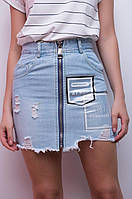 Джинсовая юбка с молнией, фото 1