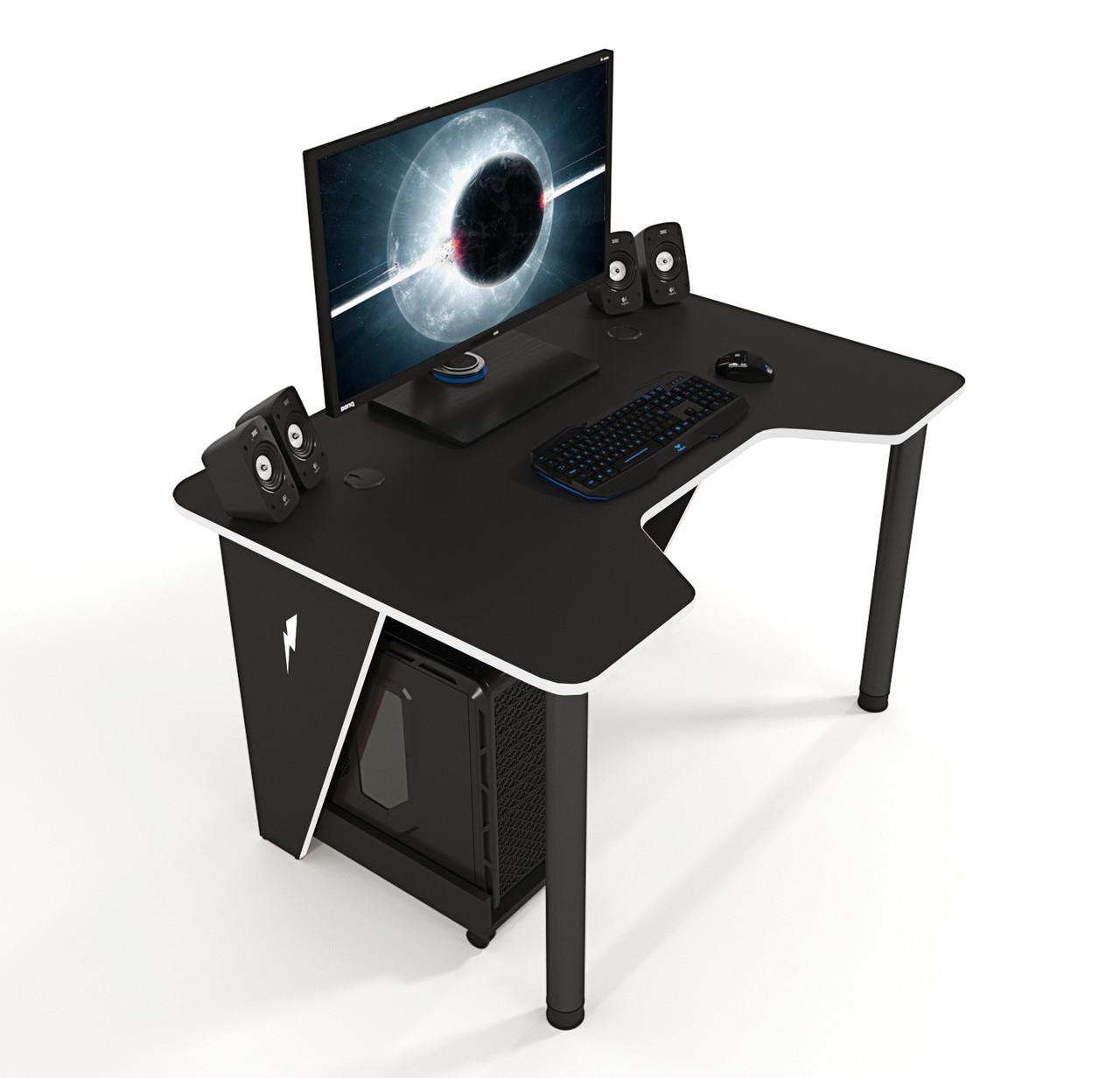 """Стол компьютерный 140х80х75 см. """"Ivar-1400"""" Геймерский, черный/белый"""