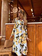 Платье миди принт лимоны, фото 1