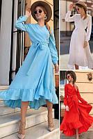 Женское летнее платье с оборкой на запах