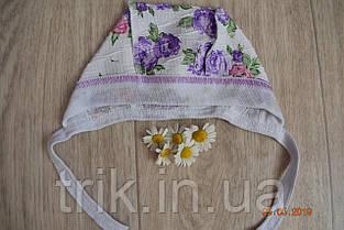 Чепчик детский TRIK жатка расцветка сиреневые пионы, фото 2