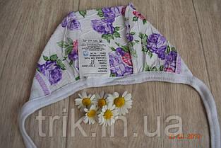 Чепчик детский TRIK жатка расцветка сиреневые пионы, фото 3
