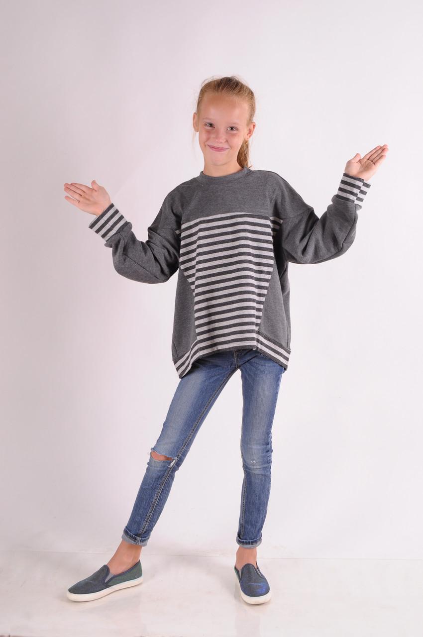 Свитшот для девочки  оверсайз в полоску от 9 до 12 лет(134;140;146;152)