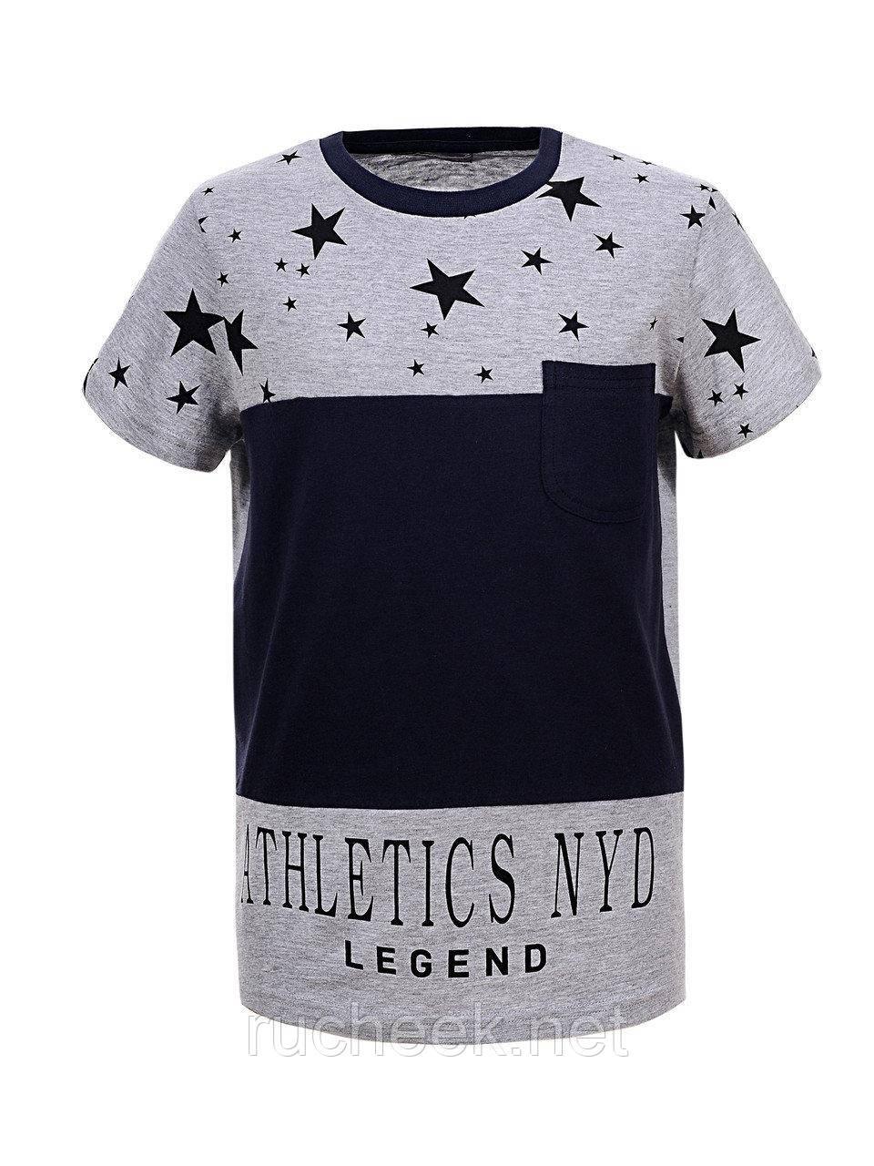 Хлопковые футболки для мальчиков, подростков, рост 134-164 Glo-story BPO-5274 158 серый