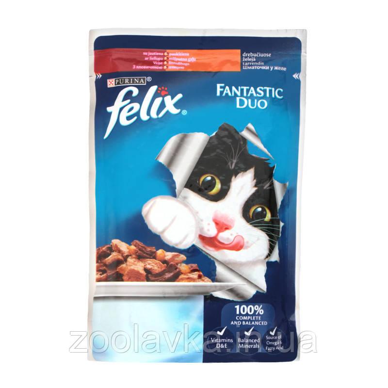Felix Fantastic Duo - консервы Феликс с говядиной и птицей в желе 100 г