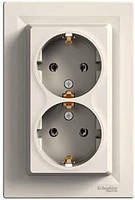 Розетка 2-я 2К+З+шторки, 16А, немецкий стандарт слоновая кость Schneider Electric Asfora