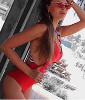 Женский сдельный купальник с полосатым карманом, код ММ-0035. Красный