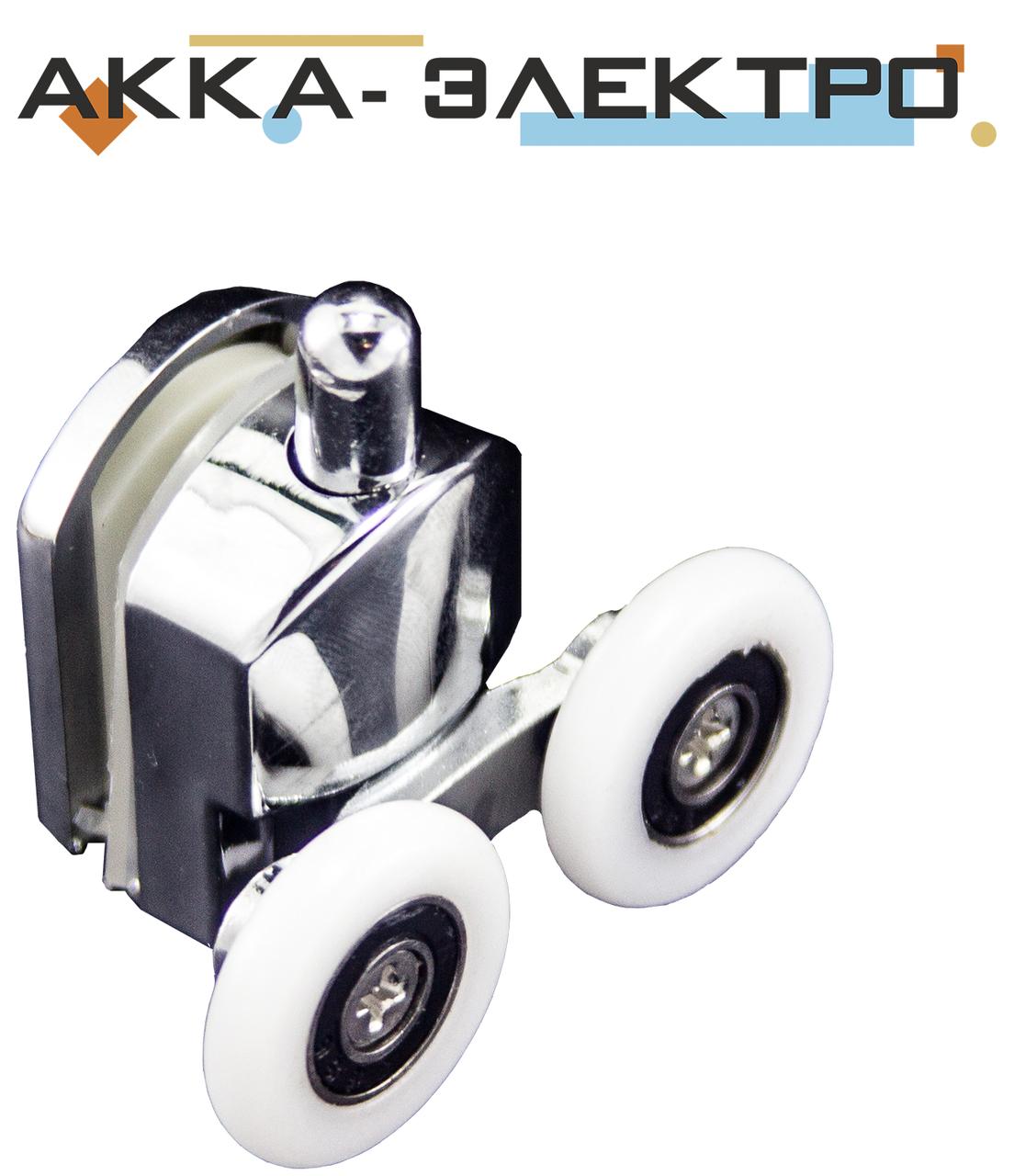 Ролик душової кабіни подвійний, хромований, нажимной ( M-02 З ) 28 мм