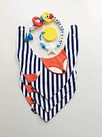Детский слюнявчик треугольник  с бубликом  грызунком Веселые монстрики