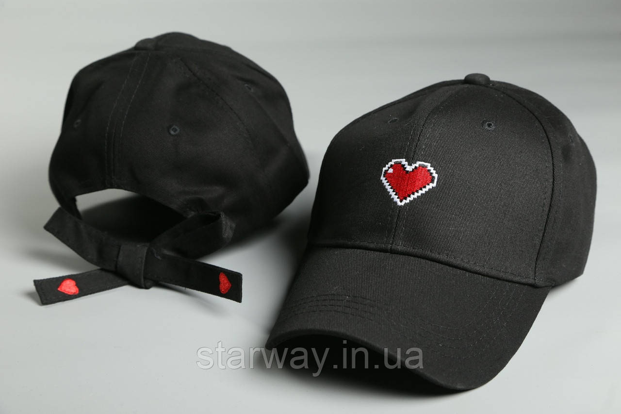 Кепка стильная Сердце с завязками | Логотип вышивка