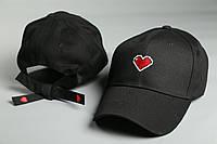 Кепка стильная Сердце с завязками | Логотип вышивка, фото 1