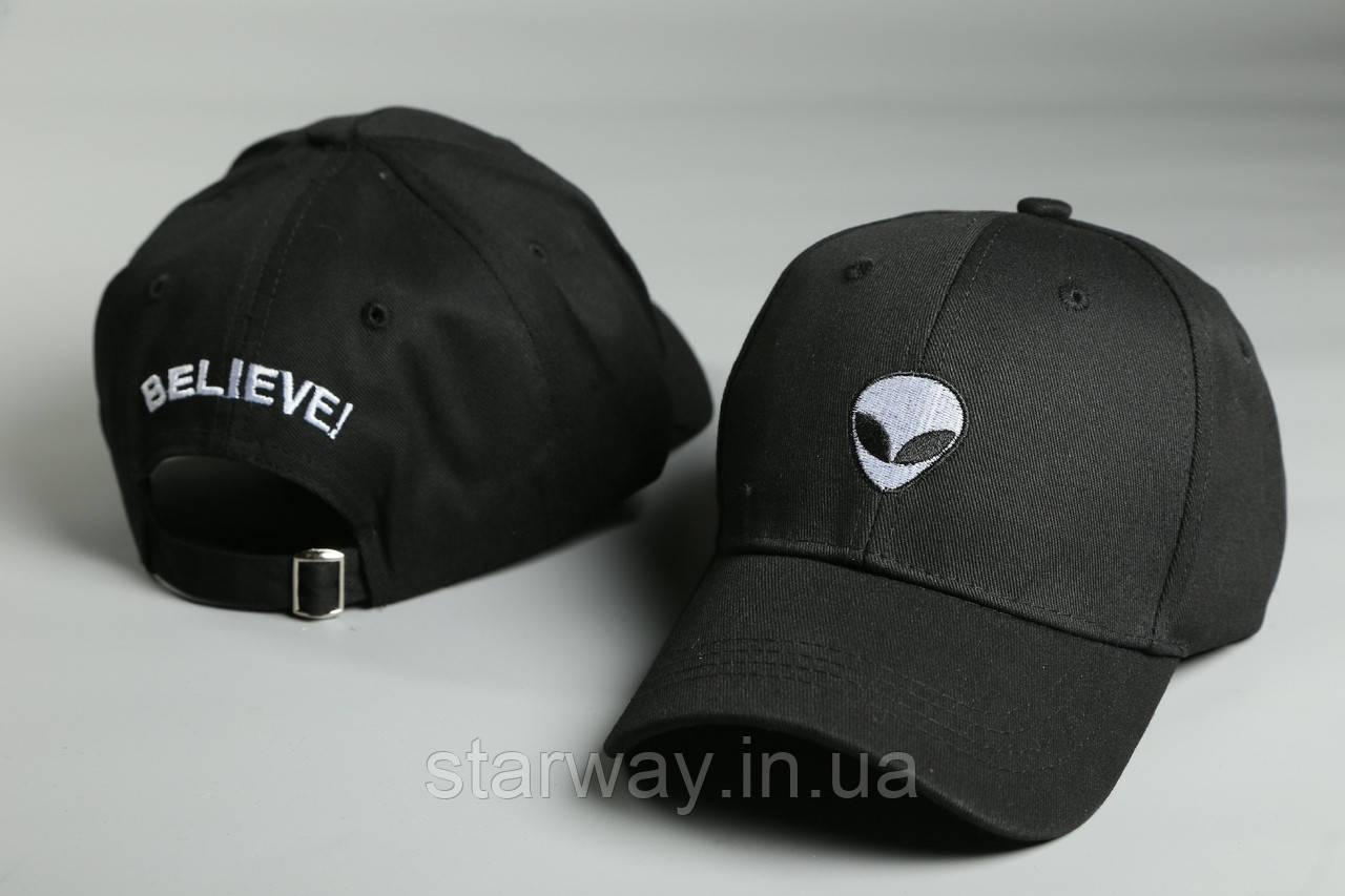 Кепка чёрная Alien Believe логотип вышивка