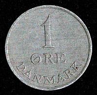 Монета Дании 1 эре 1964 г.