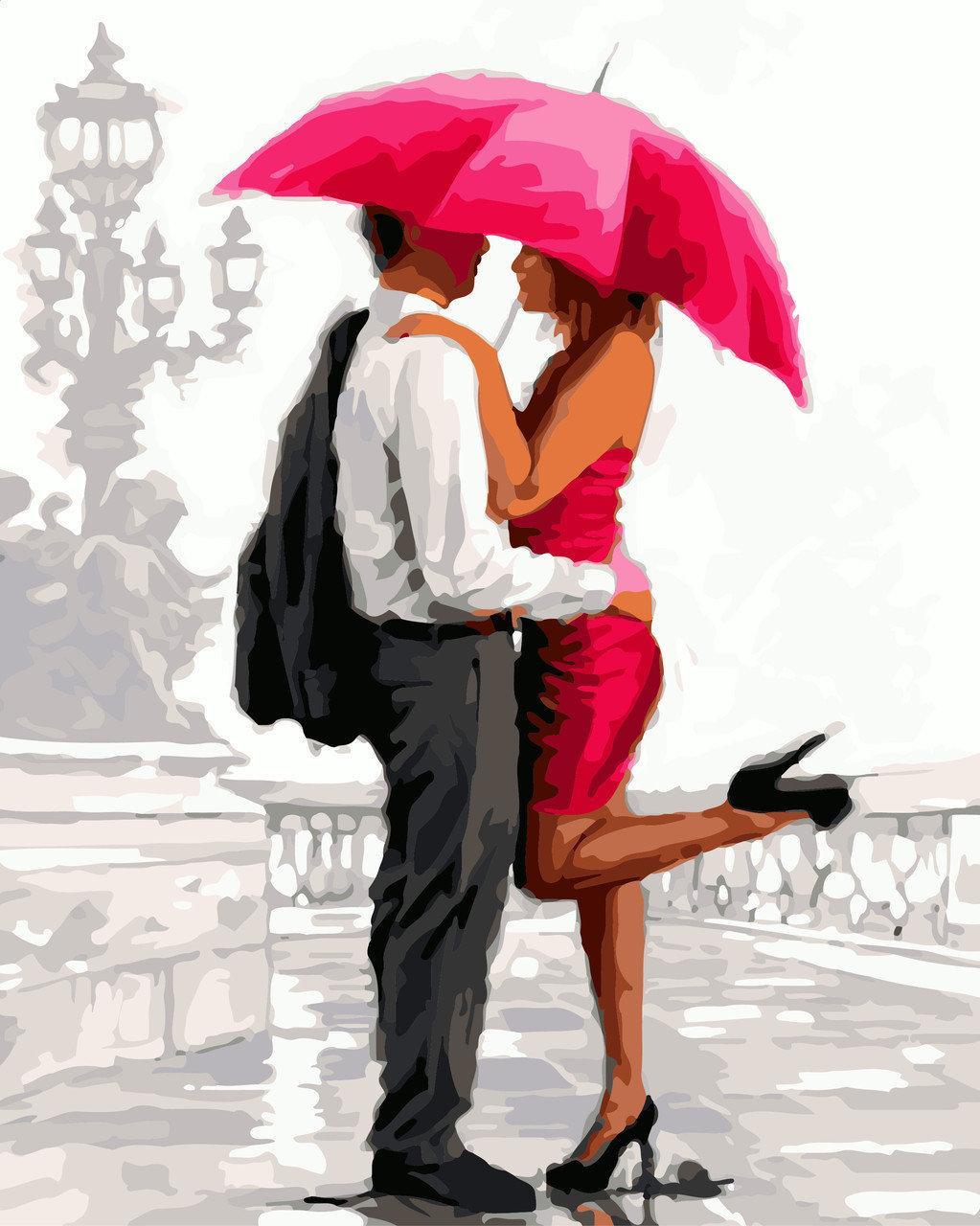 Картина по номерам Влюбленные под алым зонтом 40 х 50 см (BRM8042)