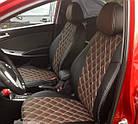 Чехлы на сиденья Дачия Логан МСВ (Dacia Logan MCV) (модельные, 3D-ромб, отдельный подголовник), фото 4