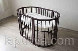 Дитяче ліжечко-трансформер 9 в 1 Pite Walnut (Горіх)