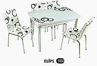 Стол раздвижной обеденный 1003 ELIPS192,набор, кухонный стол и 4 стула,Комплекты кухонной мебели