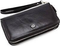 Вместительный мужской кожаный клатч на две молнии черного цвета  ST Leather