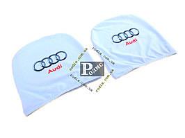 Чехол подголовника с логотипом Audi белый (2 шт.)