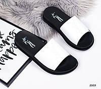 Шлепки женские  Цвет черный + белый , фото 1