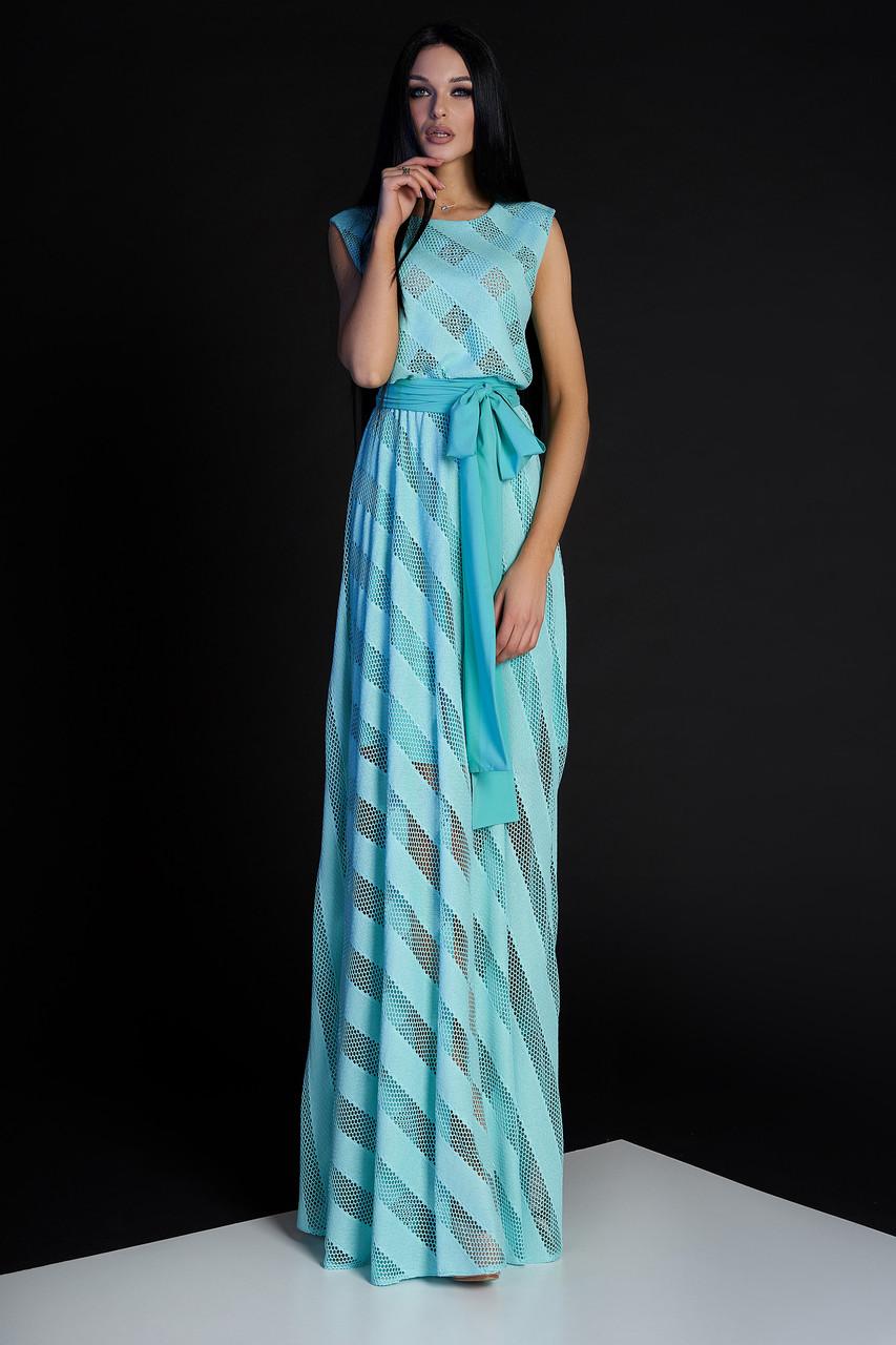 9f6011add69f896 Элегантное Красивое Платье в Пол Трикотаж Сетка Бирюзовое S-XL ...
