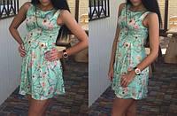 Молодежное нежное летнее платье из ткани штапель в белом и мятном цветах, размеры: S, M