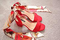 Женские босоножки на каблуке Италия красные замша атласные завязки 36-41 хит Red