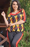 Костюм брючный женский летний стрейч-софт больших батальных размеров 58-62