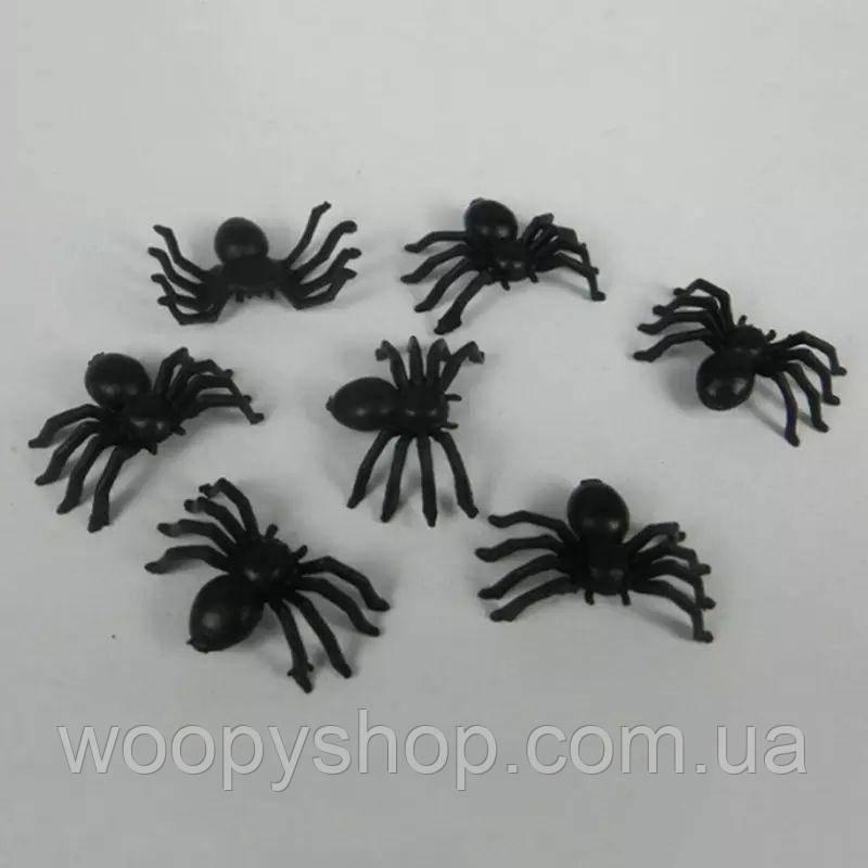 Пластиковый черный паук, декор. Хэллоуин. Розыгрыш.