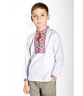 Сорочка на хлопчика, білого кольору з червоно-чорною вишивкою