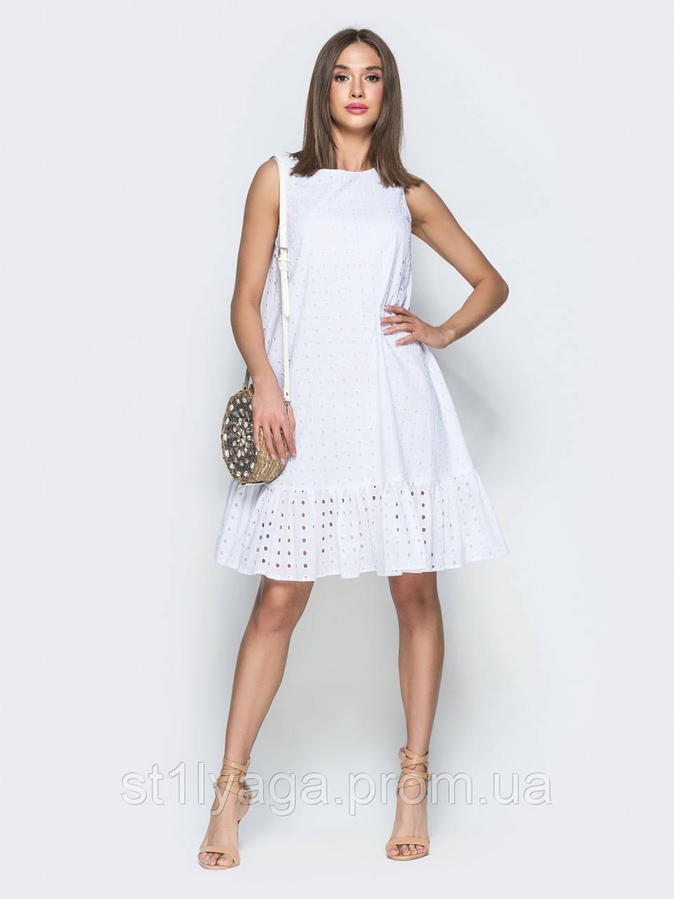 Легкое платье-трапеция из прошвы с кружевной вышивкой  ЛЕТО