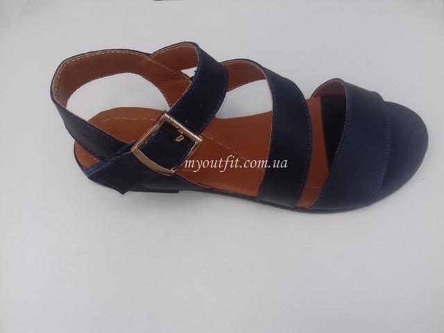 Женские кожаные сандалии тёмно-синие