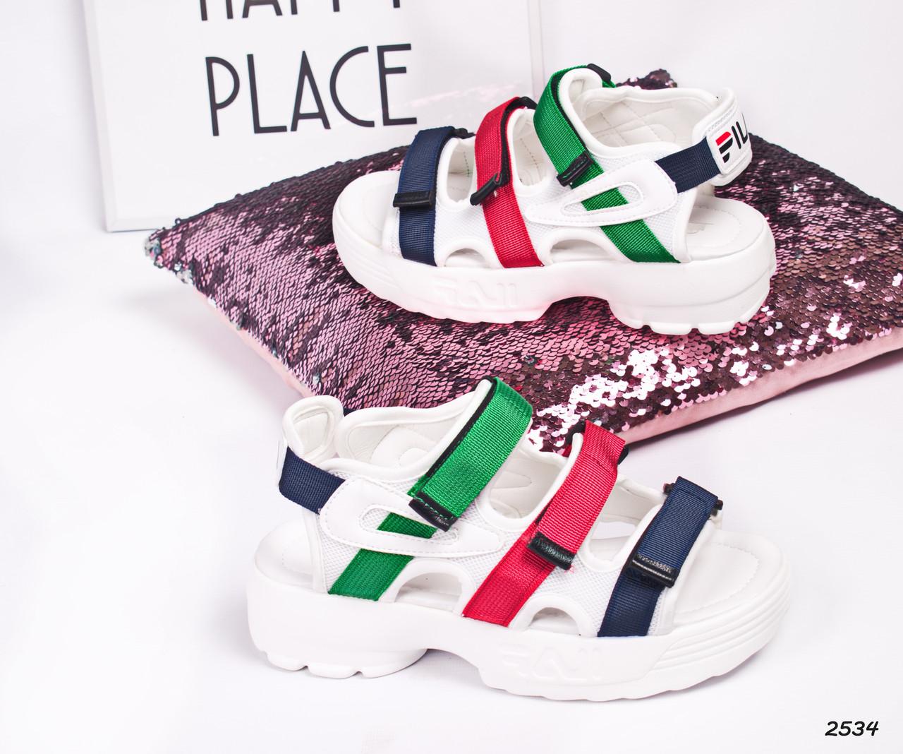 Шлепки спортивные цвет белый+зеленый+красный+синий, фото 1