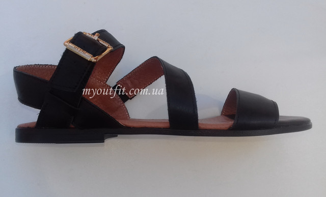 Женские кожаные сандалии чёрные