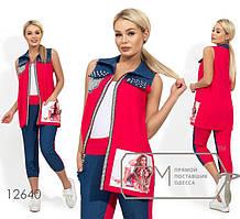 Двухцветный комплект  женский ,норма р.S,M,L   Фабрика Моды 12640, малиновый