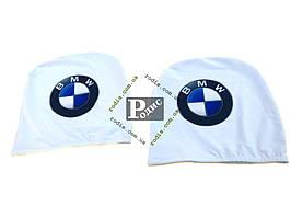 Чехол подголовника с логотипом BMW белый (2 шт.)
