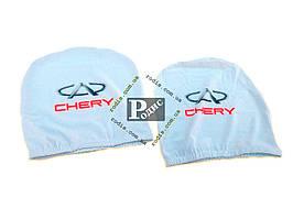 Чехол подголовника с логотипом Chery белый (2 шт.)