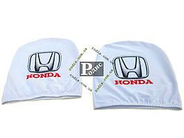 Чехол подголовника с логотипом Honda белый (2 шт.)