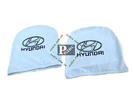 Чехол подголовника с логотипом Hyundai белый (2 шт.)