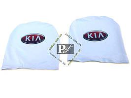 Чехол подголовника с логотипом Kia белый (2 шт.)