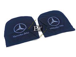 Чехол подголовника с логотипом Mercedes черный (2 шт.)