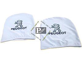 Чехол подголовника с логотипом Peugeot белый (2 шт.)