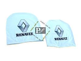 Чехол подголовника с логотипом Renault белый (2 шт.)
