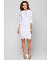 Плаття вишите жіноче, білого кольору з сірою-білою вишивкою, на 3/4 рукав