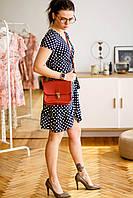 Небольшая сумка натуральная кожа женская сумочка ручная работа Boorbon 614 красная мини сумка через плечо