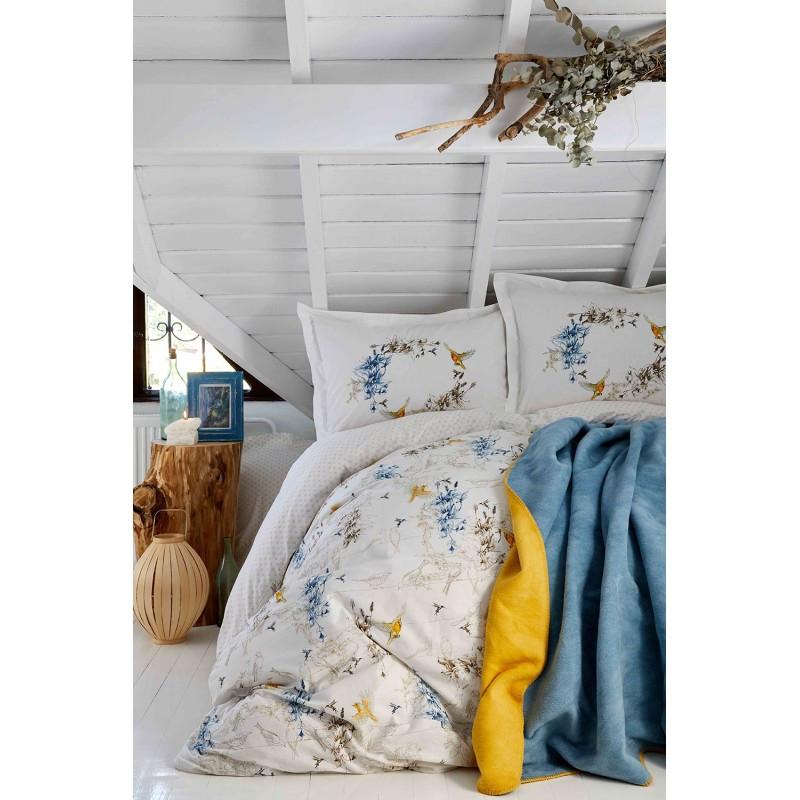 Постельное белье Karaca Home ранфорс - Pabla mavi 2019-1 голубой евро