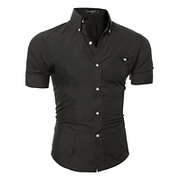 Мужская рубашка Slim Fit (короткий рукав). Модель 719