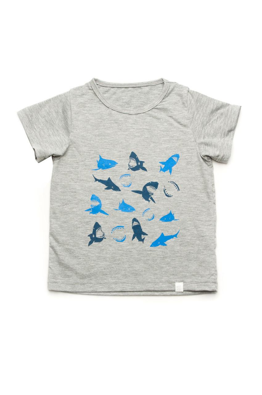 Летняя футболка для мальчика 'Акулы' 4 — 7 лет кулир